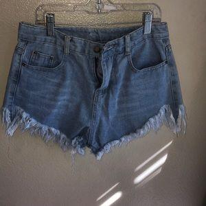 Pants - light wash denim shorts